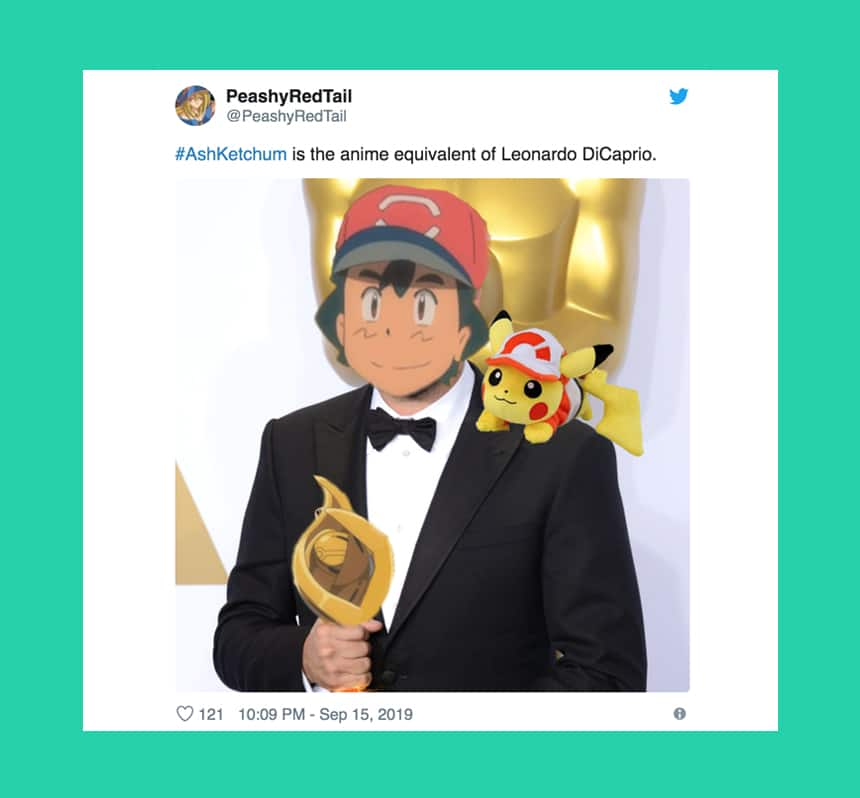 Tweet from Peashy RedTail says Ash Ketchum is the equivalent of Leonardo DiCaprio over image of Ash's head on DiCaprio's body.