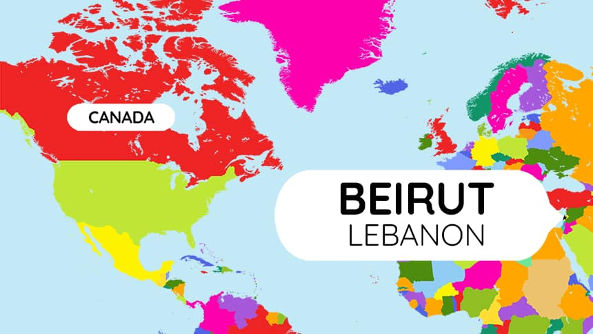 A map showing where Canada is compared to Beirut, Lebanon.