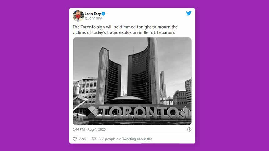 A tweet from Toronto Mayor John Tory, which reads: