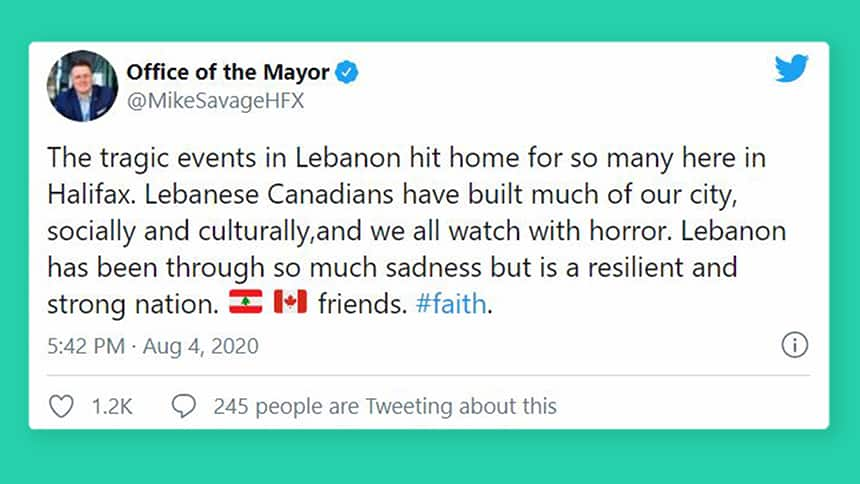 A tweet from Michael Savage, Nova Scotia's mayor, which reads: