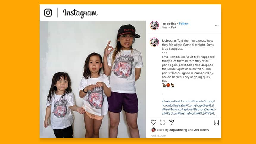 An Instagram post showing Leeloo and her two sisters wearing Leeloodles T-shirts.
