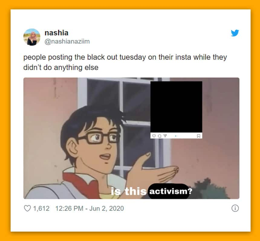 Tweet by Nashia Naziim says people posting the black out tuesday on their insta while they didn't do anything else.