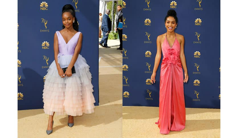 Collage of two photos. Each of a women standing on gold carpet with a blue Emmys backdrop.