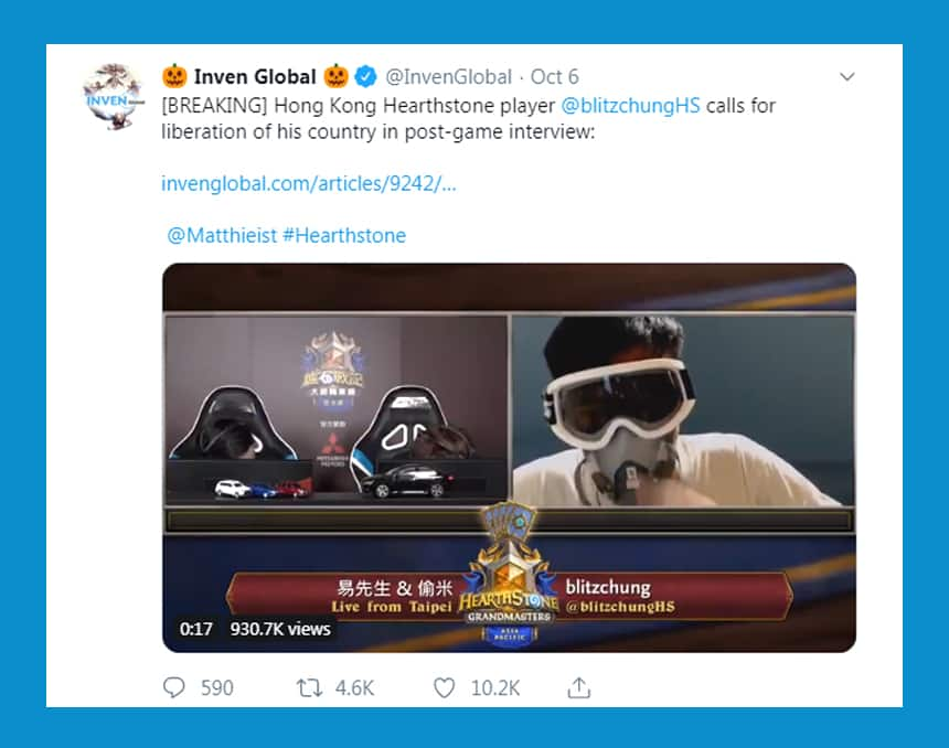 Tweet reads: Hong Kong Hearthstone player calls for liberation of this country in post-game interview.