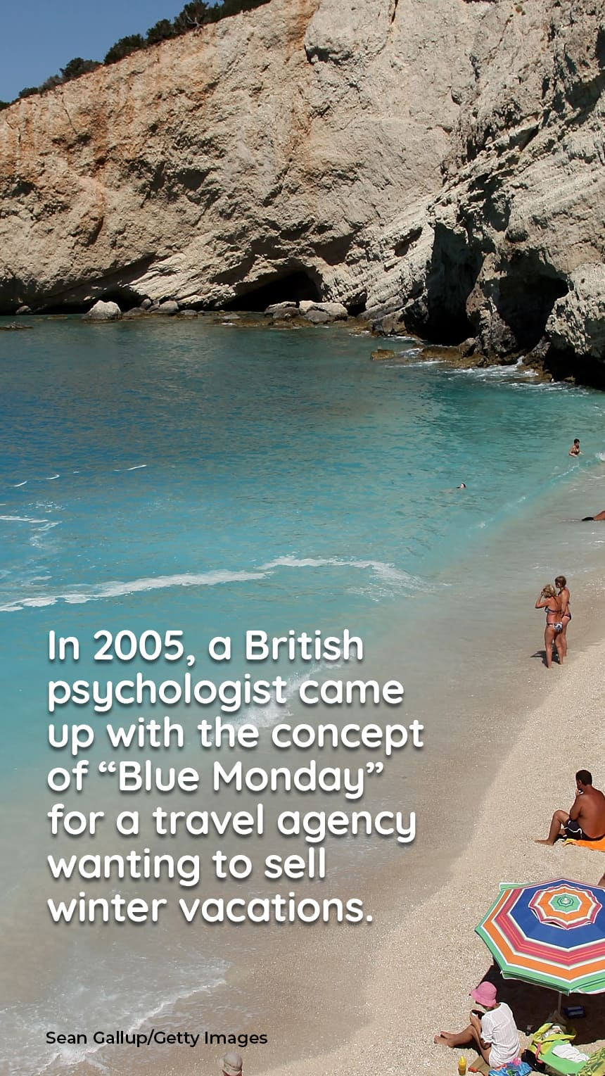"""In 2005, a British psychologist came up with the concept of """"Blue Monday"""" for a travel agency wanting to sell winter vacations.  IMAGE: Sunbathers on a beach"""