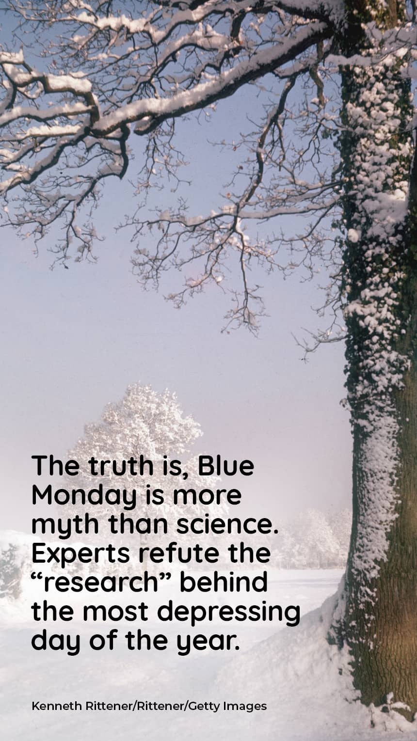 """The truth is, Blue Monday is more myth than science. Experts refute the """"research"""" behind the most depressing day of the year.  IMAGE: a snowy landscape"""