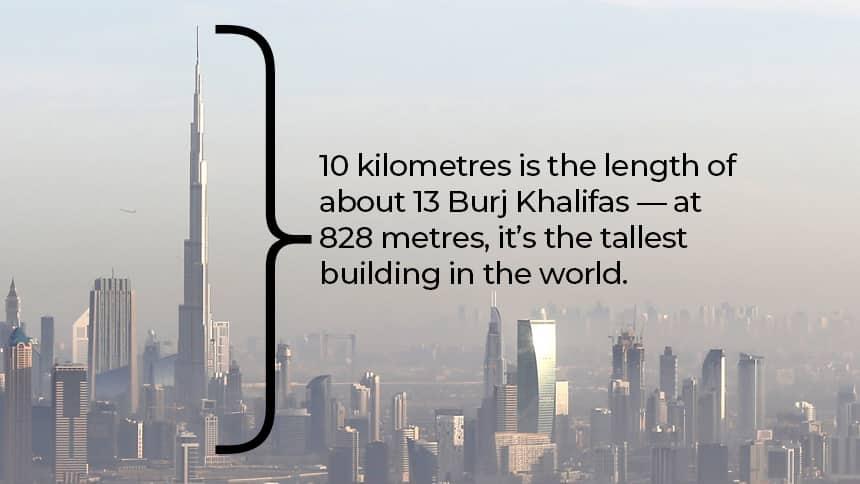 A city skyline with a very tall skyscraper.