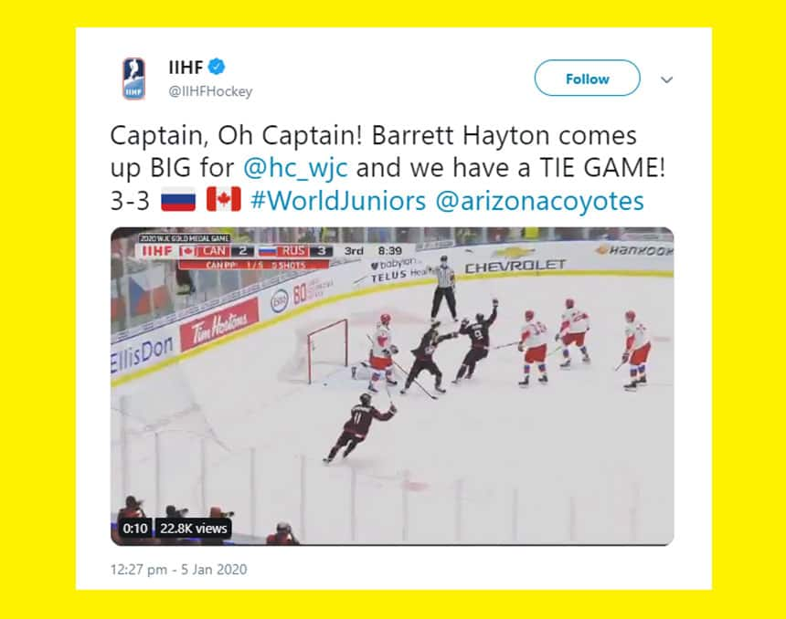 Tweet from IIHF Hockey says Captain Oh Captain! Barrett Hayton comes up big and we have a tie game!
