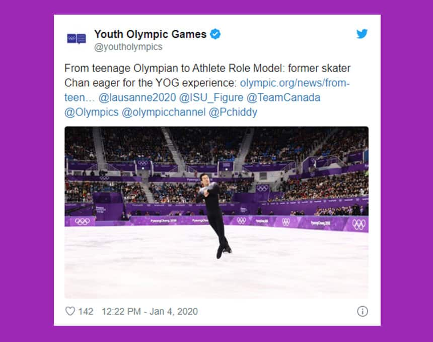 Tweet from Youth Olympic Games shows Patrick Chan doing a jump with text: From teenage Olympian to athlete role model. Former skater Chan eager for the YOG experience.