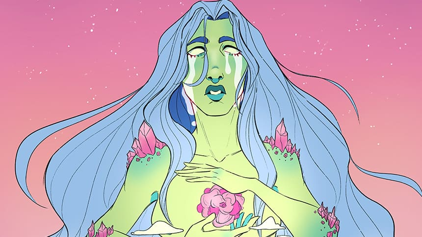 Pastel depiction of mother earth shows her holding an orchid and crying over a spacey backdrop