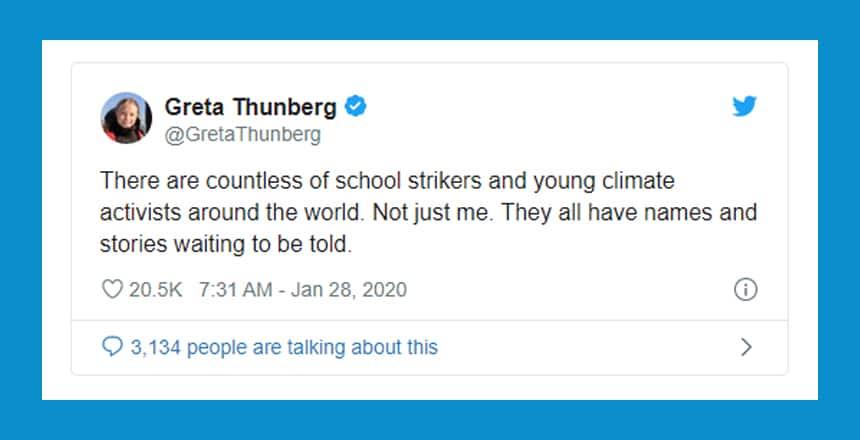 Greta Thunberg tweet that reads