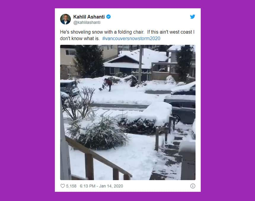 Tweet from Kahlil Ashanti shows man working on sidewalk with caption: He's shoveling snow with a folding chair. If this ain't west coast I don't know what is.