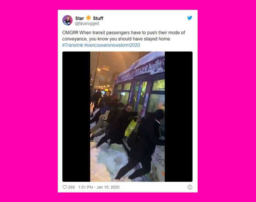 Tweet from Star Stuff shows people pushing a bus with caption: OMG When transit passengers have to push their mode of conveyance you know you should have stayed home.