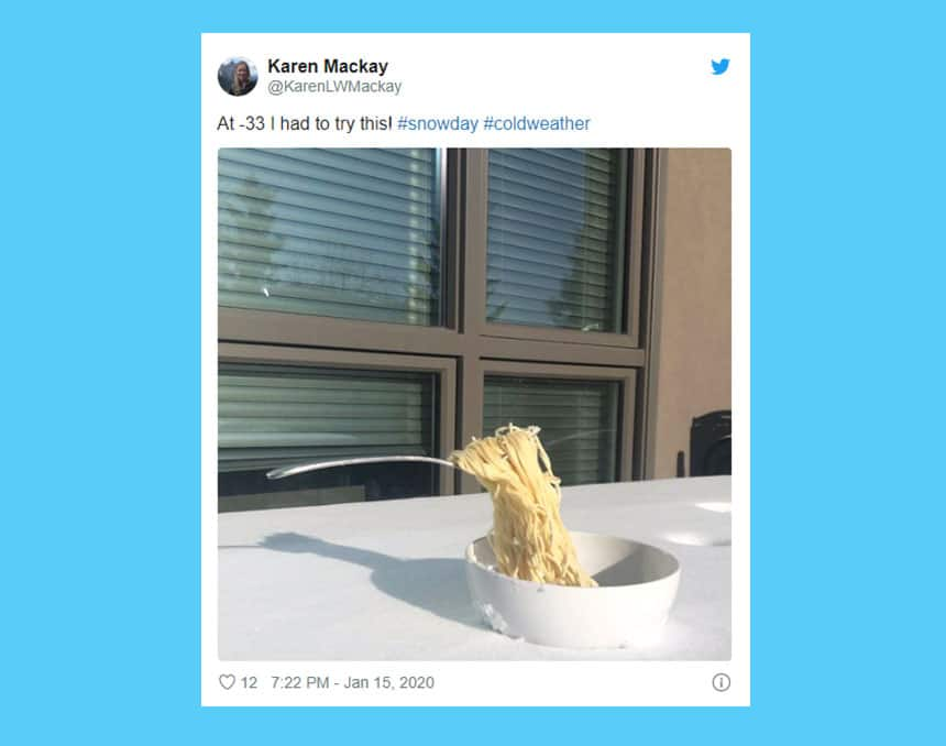 Tweet from Karen Mackay show image of fork frozen in the air with spaghetti falling from it with caption: At minus 33 I had to try this!