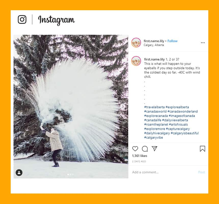 Instagram post from first name lily show blast of water freezing in beautiful pattern with caption: This is what will happen to your eyeballs if you step outside today.