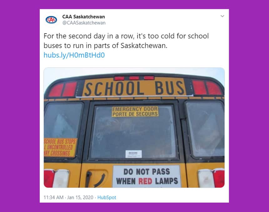 Tweet from CAA Saskatchewan says for the second day in a row, it's too cold for school buses to run in parts of Saskatchewan.