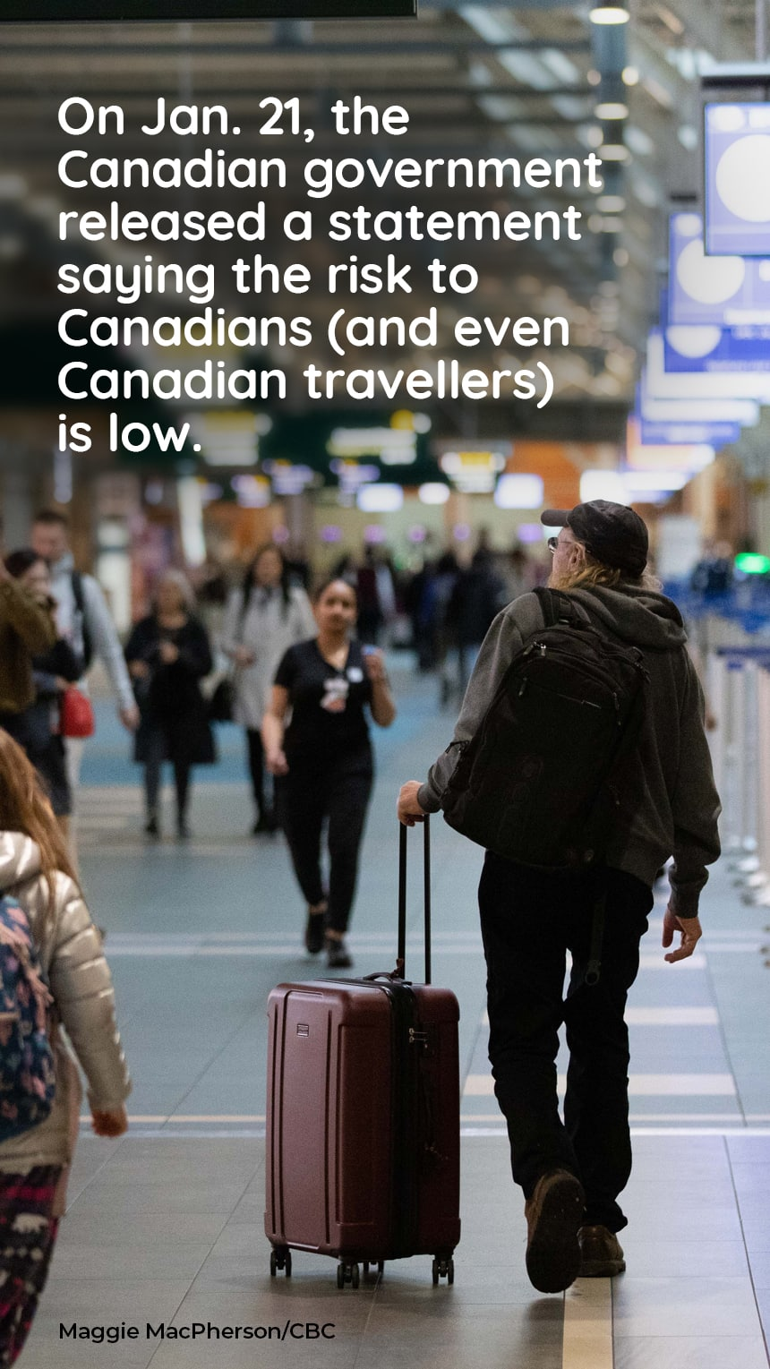 TEXT: On Jan. 21, the Canadian government released a statement saying the risk to Canadians (and even Canadian travellers) is low. IMAGE: People walking through airport. CREDIT: Maggie MacPherson/CBC