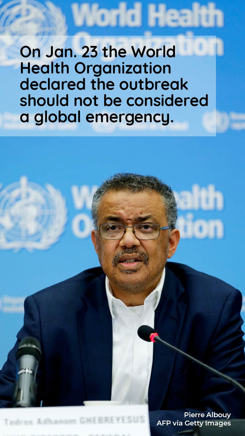 TEXT: On Jan. 23 the World Health Organization declared the outbreak should not be considered a global emergency.  IMAGE: Health official CREDIT: Pierre Albouy AFP via Getty Images