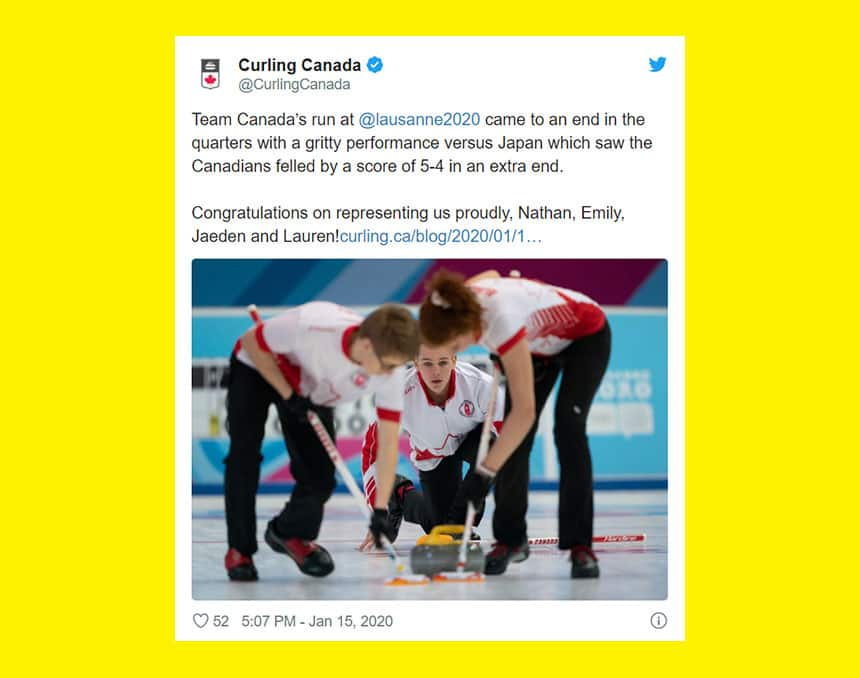 Tweet from Curling Canada says Team Canada's run at Lausanne 2020 came to an end in the quarters with a gritty performance versus Japan. Congratulations on representing us proudly!