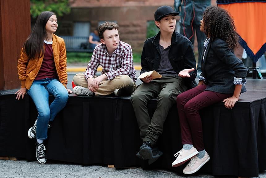 Alina Prijono, Jack Fulton, Tomaso Sanelli and Simone Miller hang out on set while filming Detention Adventure