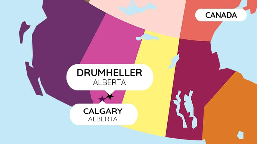 Drumheller and Calgary Alberta highlighted on map of Canada