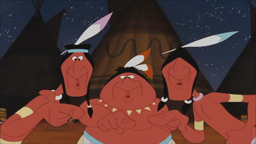Still from Peter Pan shows Indigenous people dressed in headdresses, feathers, with strong noses and appearing primall
