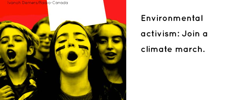 TEXT: Environmental activism: Join a climate march: Kids chanting together.