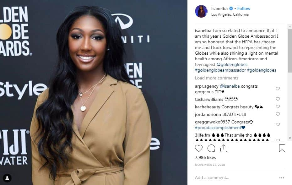 Instagram post @isanelba reads I am so elated to announce that I am this year's Golden Globe Ambassador! I am so honoured that the HFPA has chosen me and I look forward to representing the Globes while also shining a light on mental health among African-Americans and teenagers!