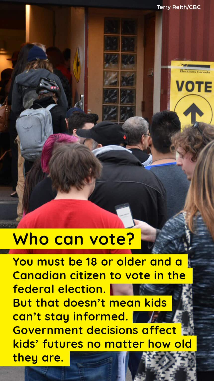 An image of people lining up to vote outside a polling station with text that says, Who can vote? You must be 18 or older and a Canadian citizen to vote in the federal election. But that doesn't mean kids can't stay informed. Government decisions affect kids' future no matter how old they are.