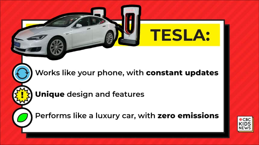 Tesla: Works like a phone, with constant updates; Unique designs and features; Performs like a luxury car with zero emissions