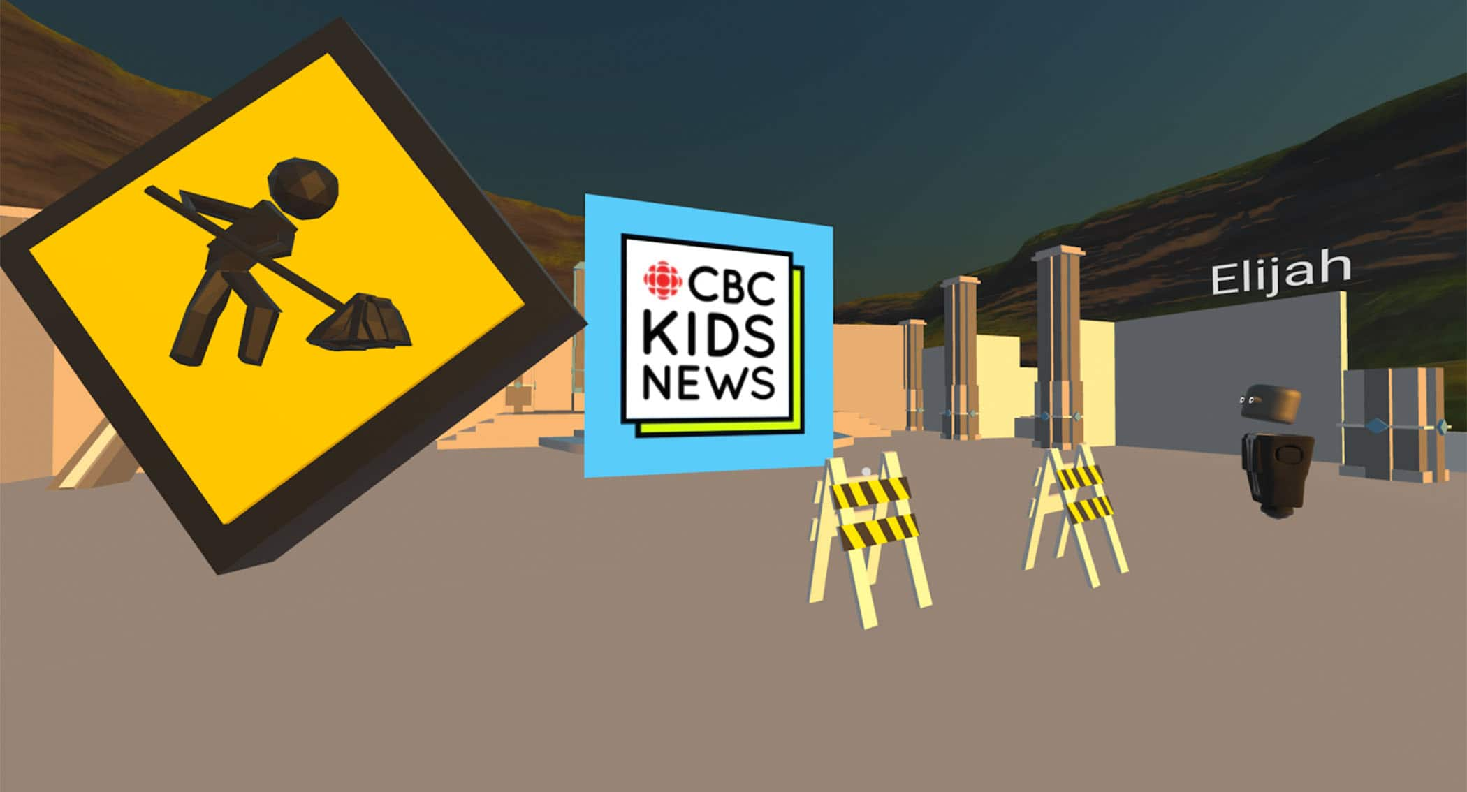A shot of CBC Kids News virtual reality studio as it gets built.