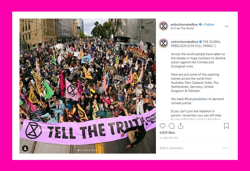 Instagram post from ExtinctionRebellion says The global rebellion is in full swing.