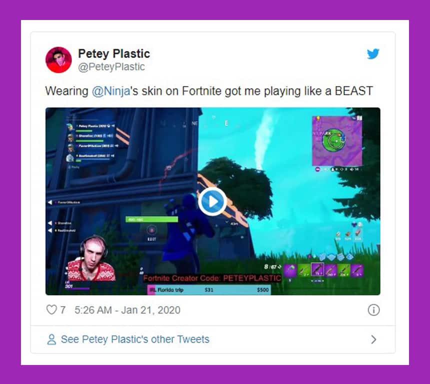 Tweet from Petey Plastic says Wearing Ninja's skin on Fortnite got me playing like a BEAST