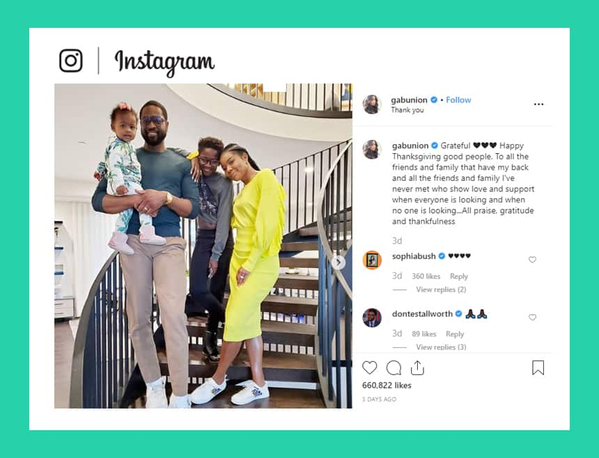 Instagram post from Gabunion shows family photo with caption. Grateful. Happy Thanksgiving good people. To all the friends and family that have my back and all the friends and family I've never met who show love and support when everyone is looking and when no one is looking. All praise, gratitude and thankfulness.