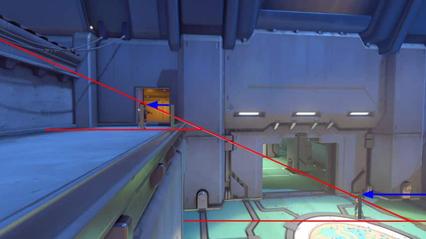 Image from video game shows lasers crossing a dark room.
