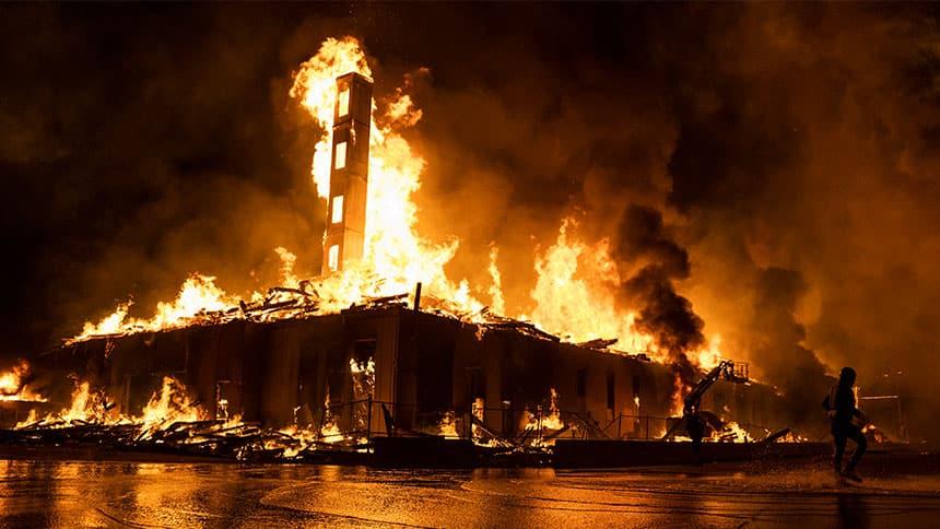 A construction site burns.
