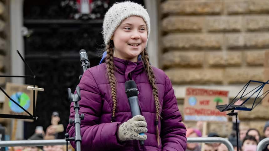 Greta Thunberg, the 16-year-old Swede who started the climate-strike movement last summer, speaking at a protest in Hamburg, Germany on March