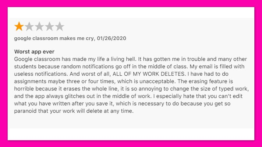 One star review called Worst app ever says My email is filled with useless notifications and worst of all all of my work deletes.
