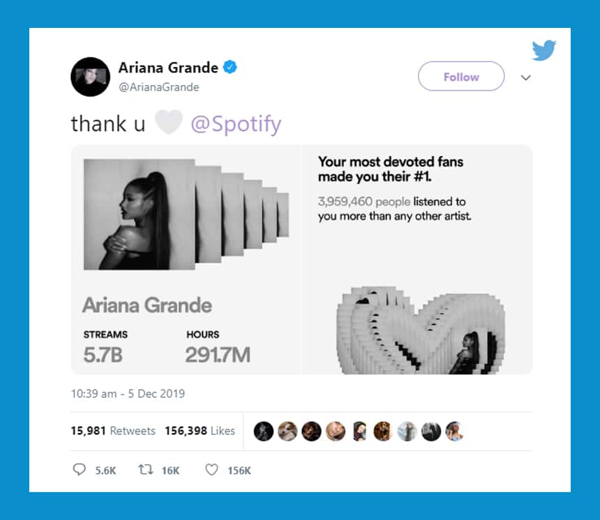 Tweet from Ariana Grande says Thank U Spotify and shows chart that says more than 3 million people listened to you more than any other artist.