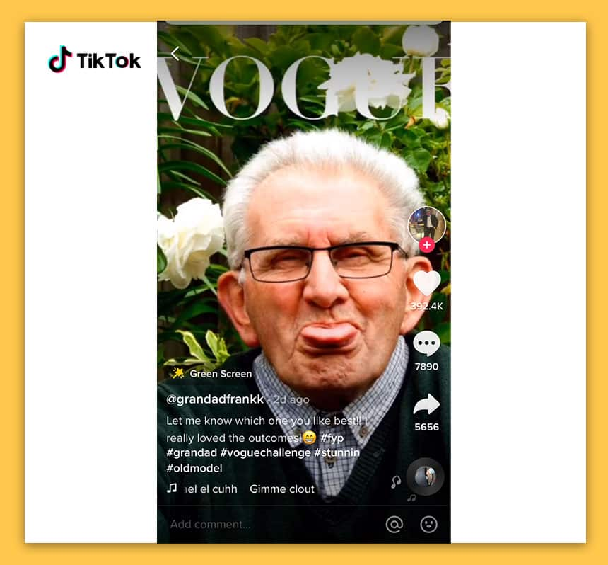An old man on the cover of Vogue sticking out his tongue.