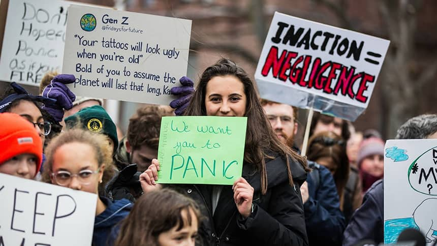 A protester with a sign