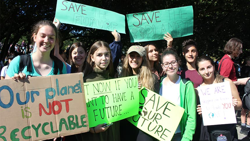 A group of teenage protesters