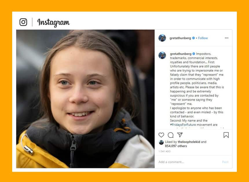 Greta Thunberg posted to Instagram explaining why she wants to trademark her name and the name of her movement.