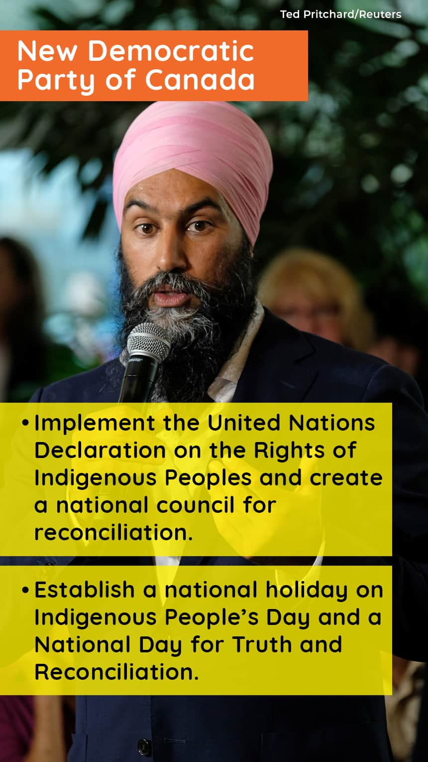 An image of Jagmeet Singh with text that says, NEW DEMOCRATIC PARTY OF CANADA, Implement the United Nations Declaration on the Rights of Indigenous Peoples and create a national council for reconciliation, Establish a national holiday on Indigenous People's Day and a National Day for Truth and Reconciliation.