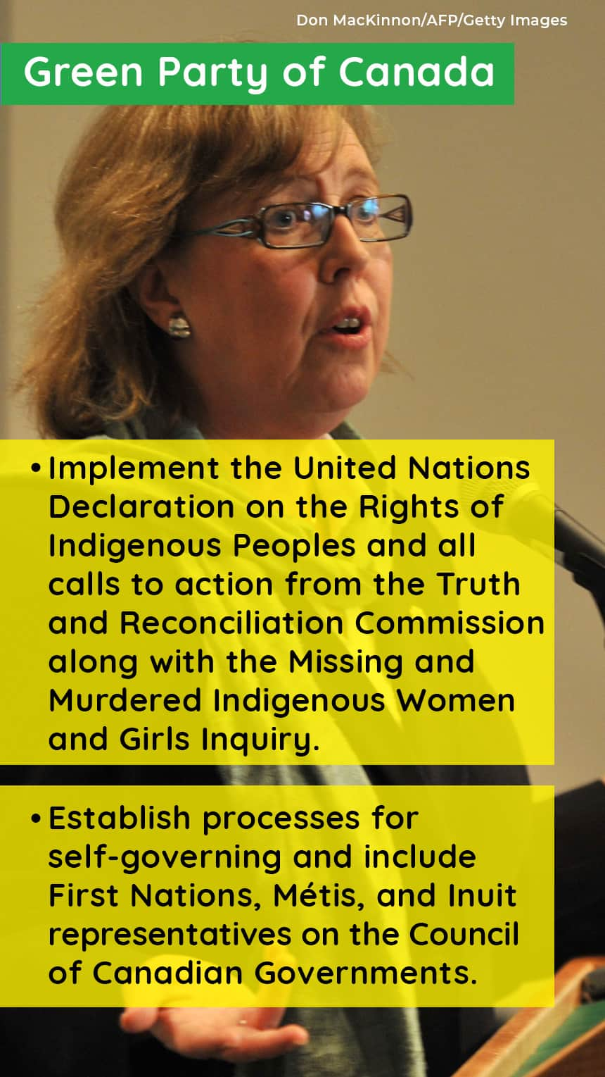 An image of Elizabeth May with text that says, GREEN PARTY OF CANADA Implement the United Nations Declaration on the Rights of Indigenous Peoples and all calls to action from the Truth and Reconciliation Commission along with the Missing and Murdered Indigenous Women and Girls Inquiry, Establish processes for self-governing and include First Nations, Métis, and Inuit representatives on the Council of Canadian Governments.