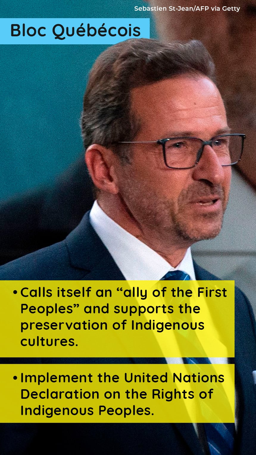 """An image of Yves-Francois Blanchet with text that says, BLOC QUEBECOIS, Calls itself an """"ally of the First Peoples"""" and supports the preservation of Indigenous cultures, Implement the UN Declaration on the Rights of Indigenous Peoples."""