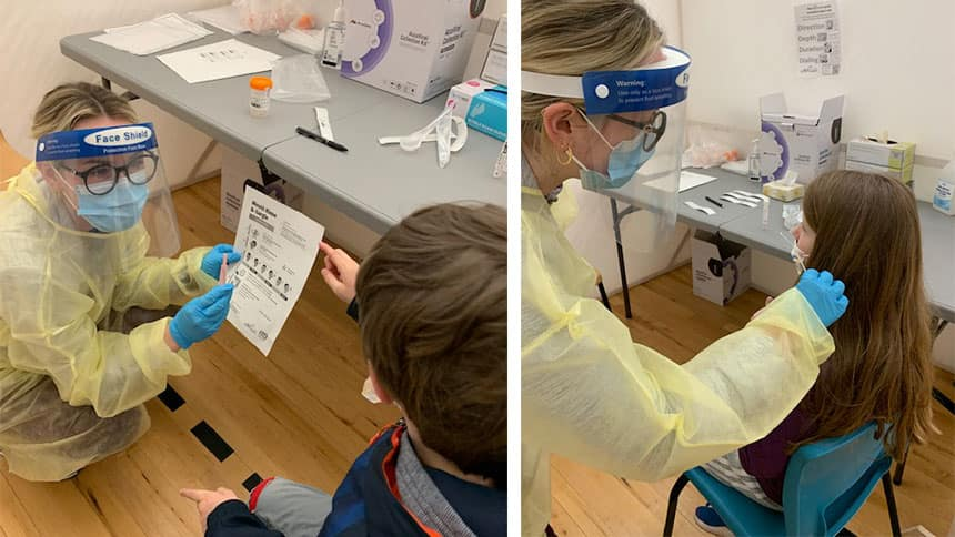 2 images of children getting a COVID-19 nasal swab.