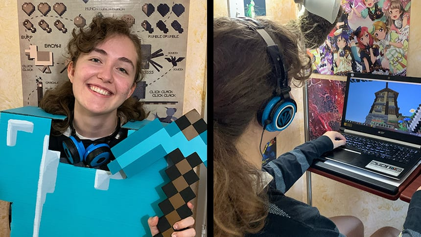 A young woman poses in Minecraft armour on the left, and plays minecraft on a laptop on the right