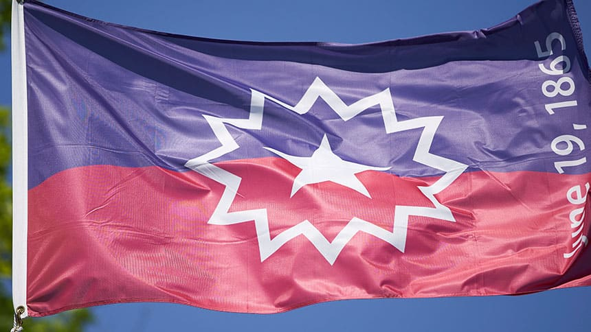 Blue and red flag with star in the middle.
