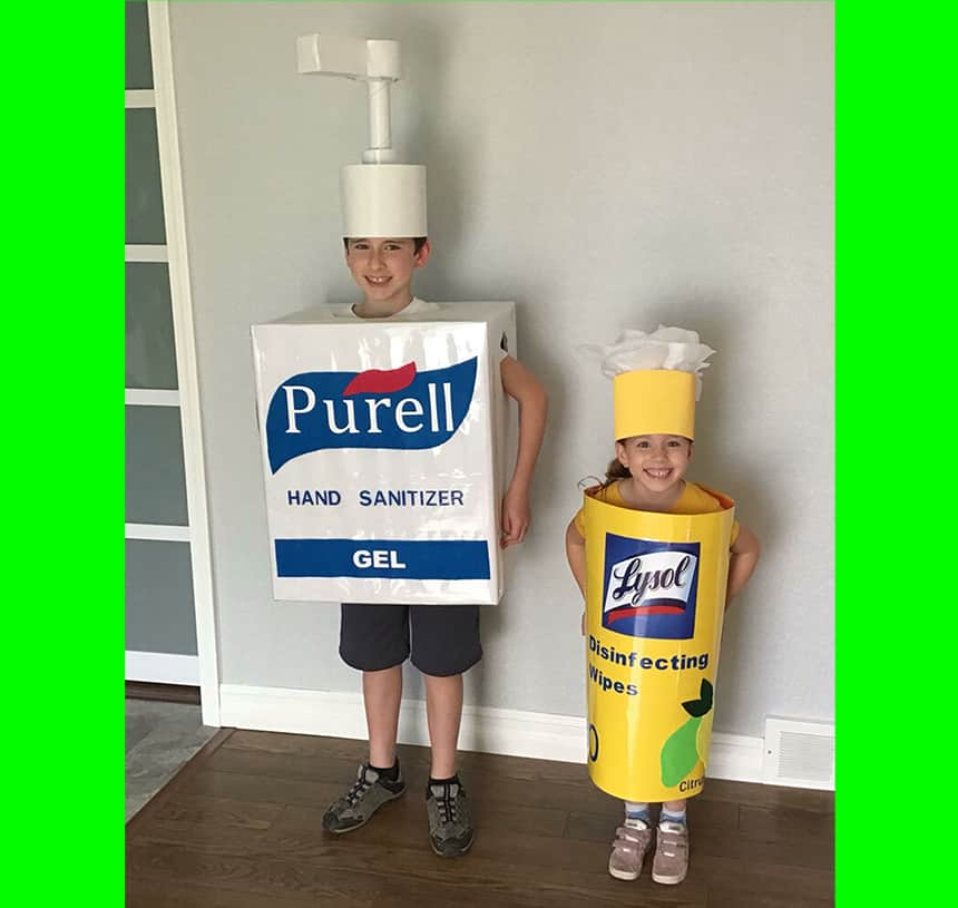 Boy dressed as purell bottle and younger girl dressed as lysol wipes